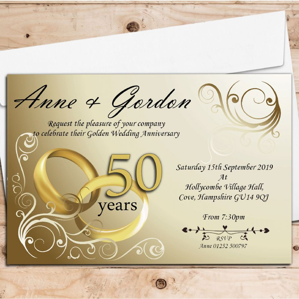 10 Personalised Gold Rings 50th Golden Wedding Anniversary ...